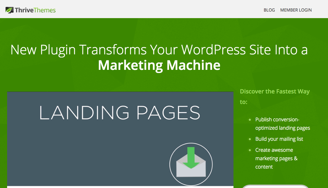 Thrive Landing Pages WordPress Plugin